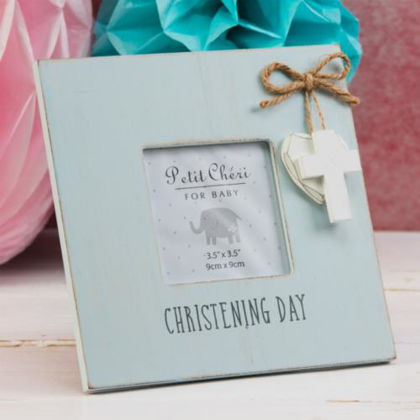 Picture of Christening Frame Cross and Heart Blue