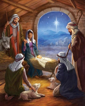 Picture of Shepherds and manger: Advent calendar card