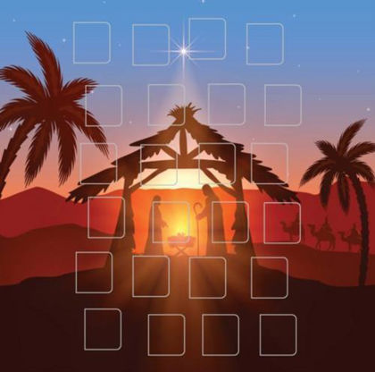 Picture of Sunrise stable: Advent calendar card